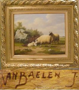 Picture of VAN BAELEN JEAN - LANDSCAPE WITH ANIMALS BY A ROCK